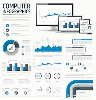 Technologie informacyjne statystycznych infographic elementów szablonu wektoru ilustracja.