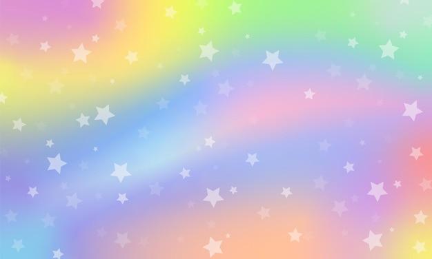 Tęcza fantasy tło. holograficzna ilustracja w pastelowych kolorach. niebo z gwiazdami.