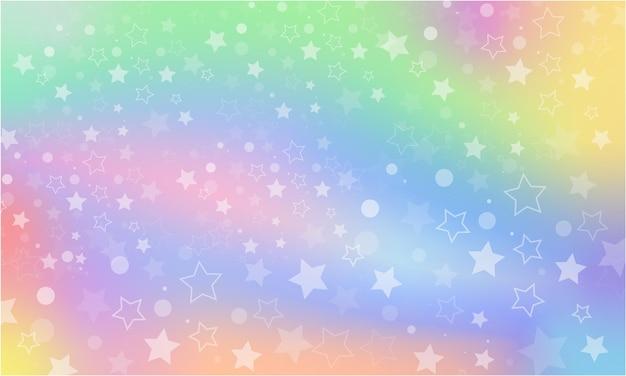 Tęcza fantasy tło. holograficzna ilustracja w pastelowych kolorach. wielobarwne niebo z gwiazdami