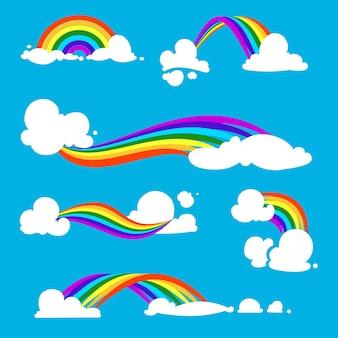 Tęcza i chmury. ilustracje. zestaw tęczy z chmurą w błękitne niebo