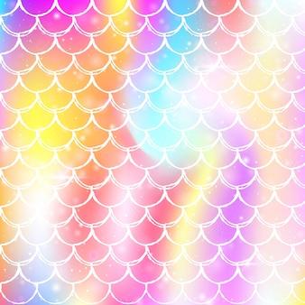 Tęcza łuski tło wzór kawaii syrenka księżniczka.
