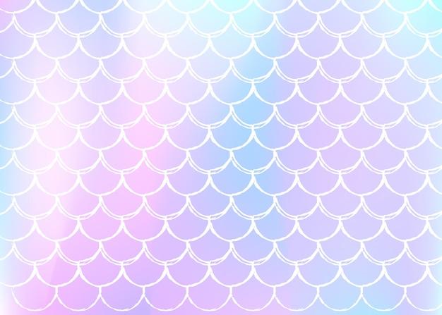 Tęcza łuski tło z kawaii syrenka księżniczka wzór.