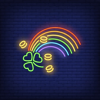 Tęcza, monety i neon koniczyny