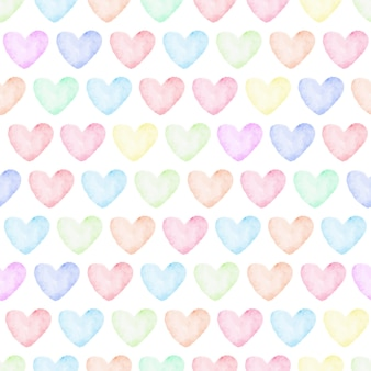 Tęcza pastelowe serce akwarela bezszwowe wzór
