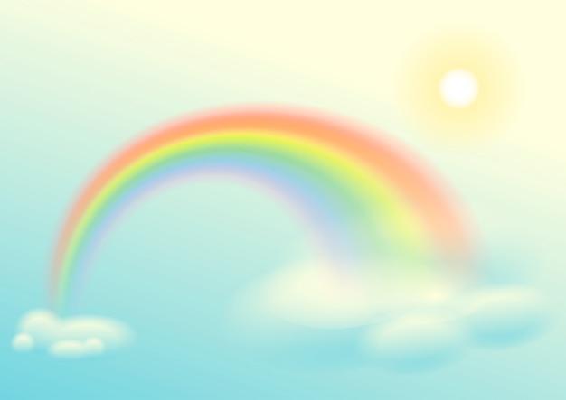 Tęcza, słońce i chmury niebo