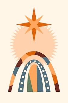 Tęcza tło wzór. cartoon tęczowy łuk boho minimalistyczny nadruk do projektowania zaproszenia na baby shower, tag sklepu dziecięcego, nadruk koszulki dla dziewczynki itp.