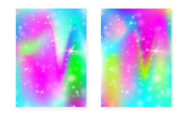 Tęcza tło z gradientem kawaii księżniczki. hologram magicznego jednorożca. zestaw wróżek holograficznych. fantastyczna okładka spectrum. tęcza tło z błyszczy i gwiazd na zaproszenie na przyjęcie słodkie dziewczyny.