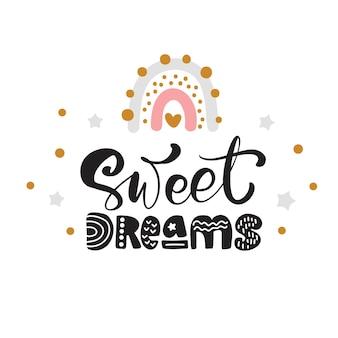Tęcza z napisem kaligrafia tekst słodkie sny i ilustracja tęcza z gwiazdą dla treści w mediach społecznościowych.