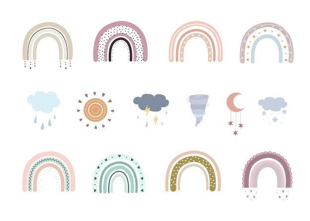 Tęcze boho, chmury i tornado. śliczne tęcze w pastelowych kolorach. doodle elementy sztuki.