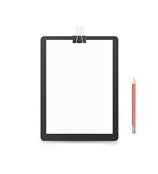 Teczka biurowa z papierem formatu a4 i ołówkiem. makieta wektor. szablon tożsamości