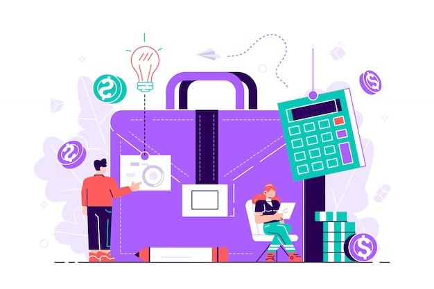 Teczka, kalkulator i księgowi pracujący z wykresami i laptopem. rachunkowość, analiza finansowa i koncepcja planowania