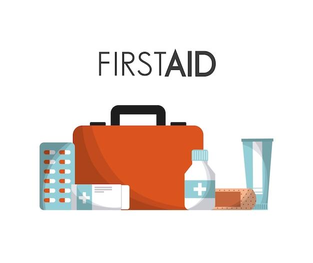 Teczka pierwszej pomocy z ikonami sprzętu medycznego