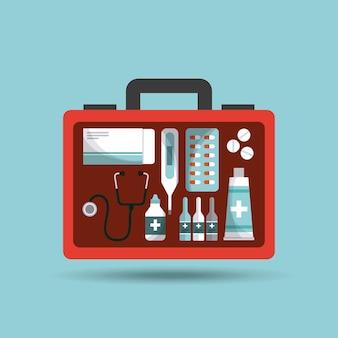 Teczka pierwszej pomocy ze sprzętem medycznym