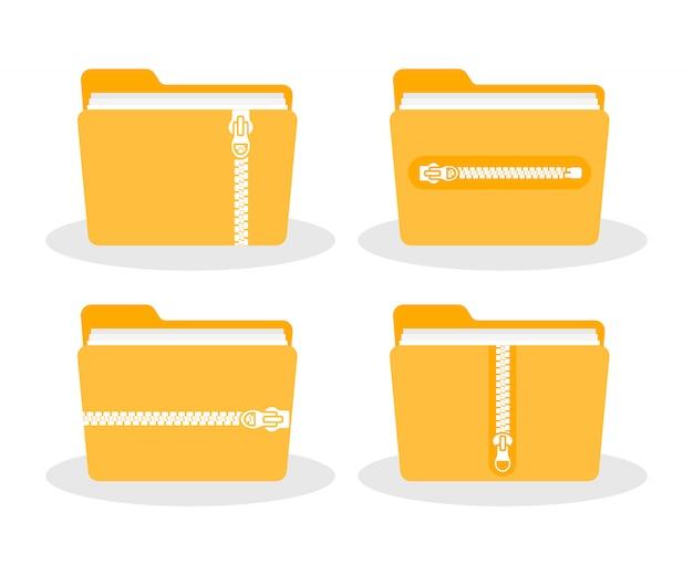 Teczka z zamkiem. ikona folderu zip.