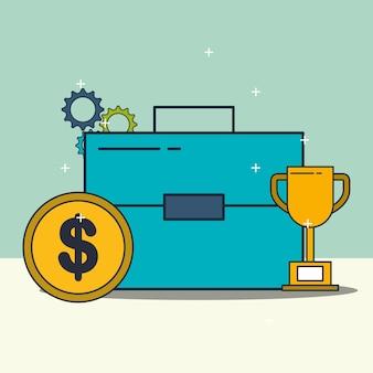 Teczki biznesowe trofeum i pieniądze monety ilustracji wektorowych