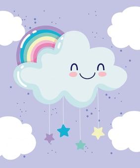 Tęczowa chmura wiszące gwiazdy nocny sen kreskówka dekoracja wektor ilustracja
