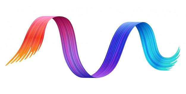 Tęczowa farba linia kreskówka. kolorowa pędzla uderzenia ilustracja w stylu
