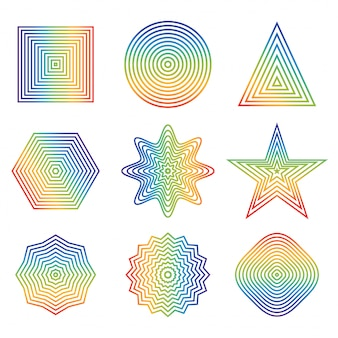 Tęczowa linia w geometrycznym kształcie