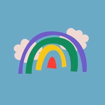 Tęczowa naklejka doodle, urocza ilustracja w kolorowym wektorze retro