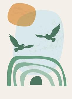 Tęczowe i słoneczne ptaki latające po niebie