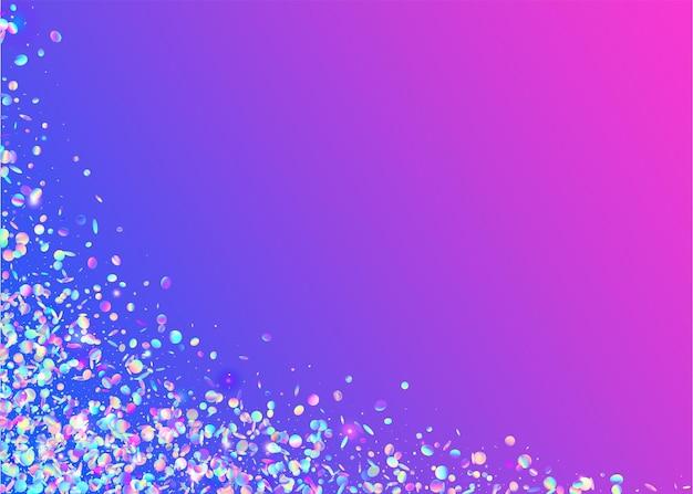 Tęczowe konfetti. tło urodziny. brokat bokeh. fioletowe błyszczy retro. folia fantasy. metalowy pryzmat. jasna sztuka. błyszczące świętuj serpentine. niebieskie tęczowe konfetti