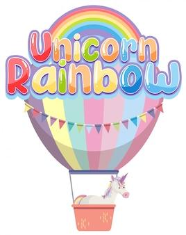 Tęczowe logo jednorożca w pastelowym kolorze z uroczym balonem