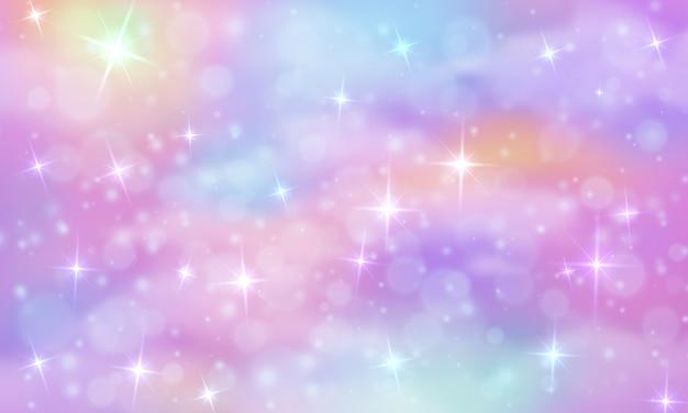 Tęczowe niebo z błyszczącymi gwiazdami
