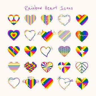 Tęczowe serce, wektor zestaw ikon miesiąca lgbt duma