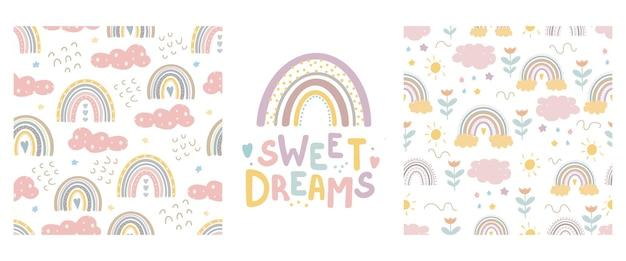 Tęczowe słodkie wzory i napisy - słodkie sny
