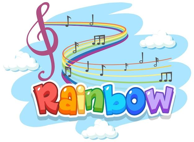 Tęczowe słowo logo na niebie z symbolami melodii