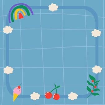 Tęczowe tło ramki, niebieski estetyczny wzór siatki z ładnym wektorem doodle