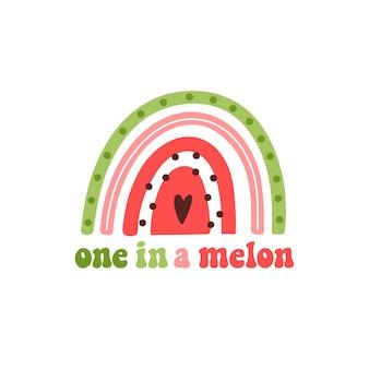 Tęczowy arbuz owocowy i napis kalambur jeden w melonowej grze słownej oznaczający jeden na milion