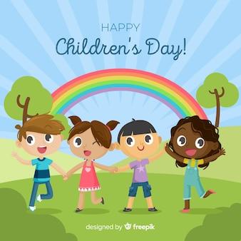 Tęczowy dzień tło dla dzieci