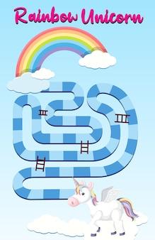 Tęczowy jednorożec szablon gry planszowej dla dzieci w wieku przedszkolnym
