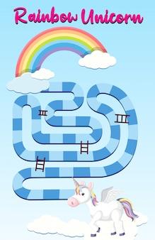 Tęczowy jednorożecowy szablon gry planszowej dla dzieci w wieku przedszkolnym