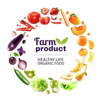 Tęczowy plakat z warzywami i owocami