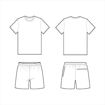 Tee pants zestaw moda płaski szablon szkicu