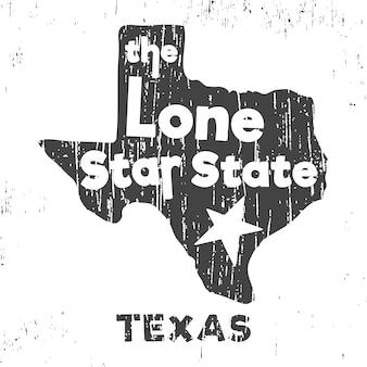 Teksas - pieczęć koszulki z gwiazdą w samotnej formie