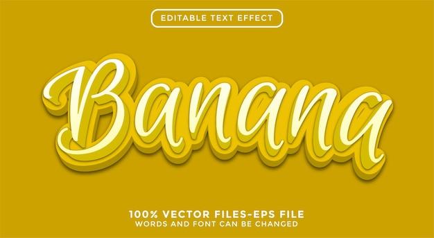 Tekst 3d banana. edytowalne wektory premium z efektem tekstowym