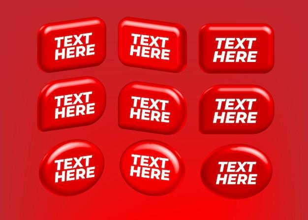 Tekst 3d czerwone kształty tutaj wektor