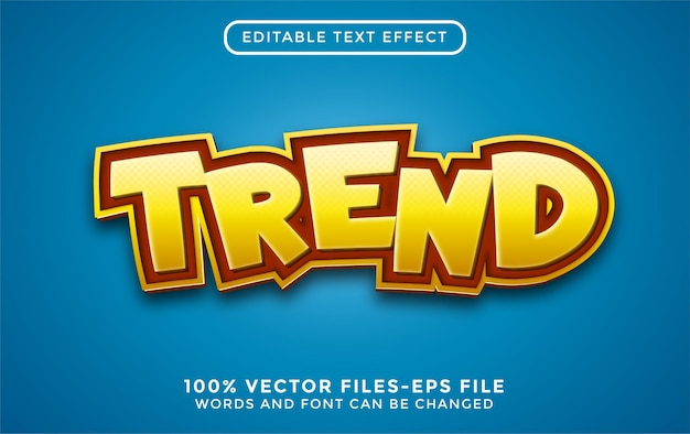 Tekst 3d trendu. edytowalny efekt tekstowy z wektorami premium w stylu kreskówki