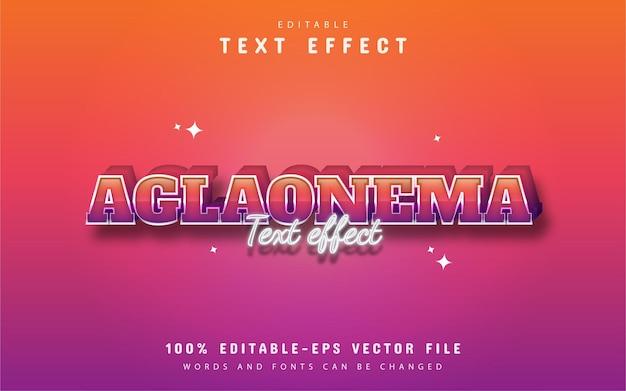 Tekst aglaonema - edytowalny kolorowy efekt tekstowy