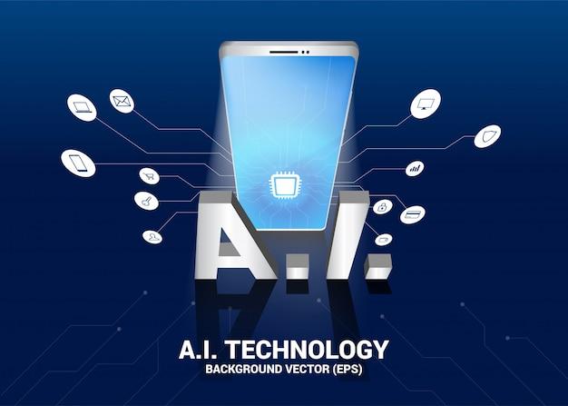 Tekst ai i telefon komórkowy 3d z grafiką linii. koncepcja telefonii komórkowej z uczeniem maszynowym. sztuczna inteligencja