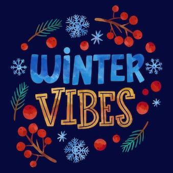 Tekst akwareli w sezonie zimowym i ilustracje