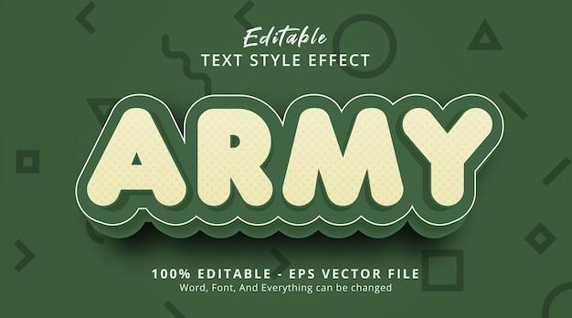 Tekst armii na nowoczesnym efekcie stylu zielonego koloru, edytowalny efekt tekstowy