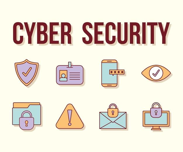 Tekst bezpieczeństwa cybernetycznego i zestaw ikon bezpieczeństwa cybernetycznego