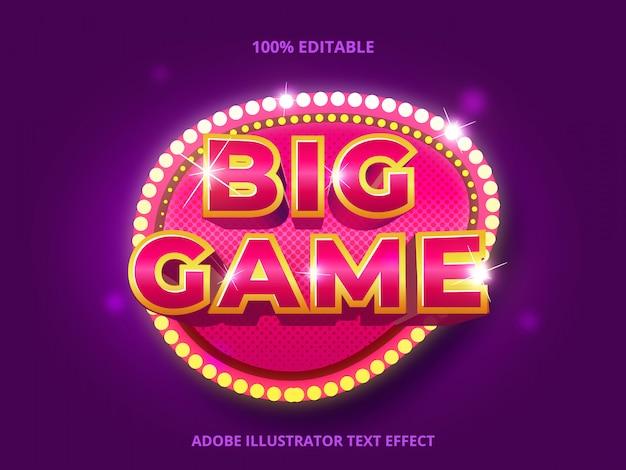 Tekst big game, edytowalny efekt tekstowy