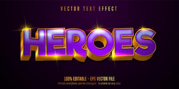 Tekst bohaterów, błyszczący efekt edytowalny w stylu złotym i fioletowym