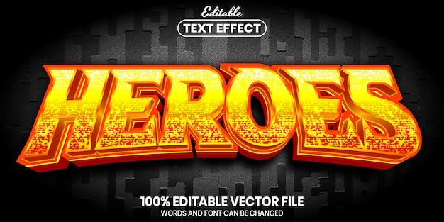 Tekst bohaterów, edytowalny efekt tekstowy w stylu czcionki