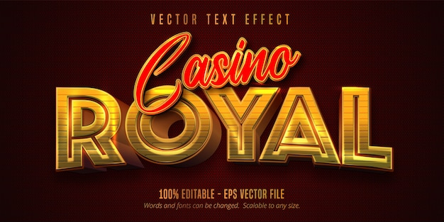 Tekst casino royal, błyszczący edytowalny efekt tekstowy w stylu złotym i czerwonym